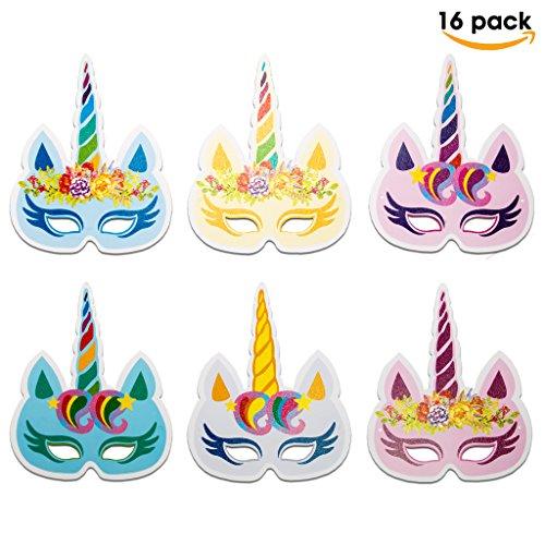 Celebration Birthday Pinata Party (Unicorn Masks 16 PCS for Birthday Party | HOT Rainbow Unicorn Party Supplies)