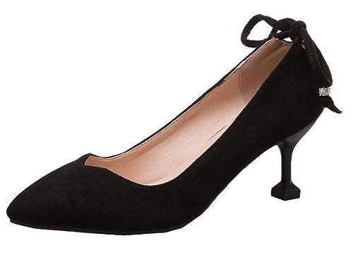 1eea4dac905c SHOWHOW Women s Sexy Pointy Toe Faux Suede Kitten Heels Pumps Black 4 B(M)