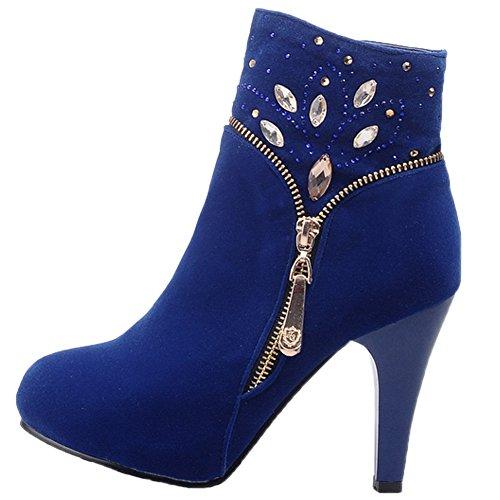 HooH Damen Stiefeletten Reißverschluss Bling Diamonds High Heel Hochzeit Stiefel Blau