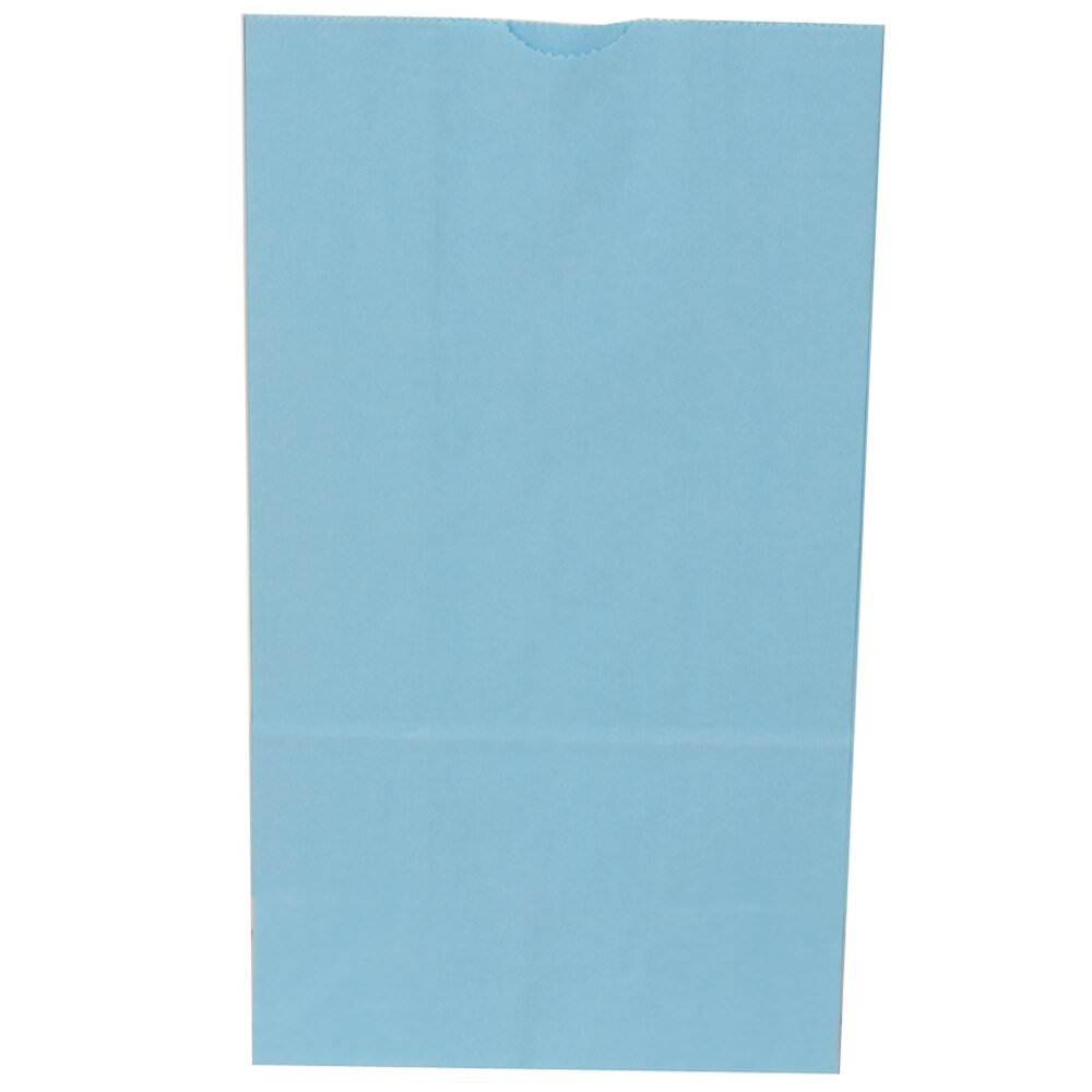 JAM Paper Kraft Lunch Bag - Large - 6'' x 11'' x 2 3/4'' - Baby Blue - 500/Box