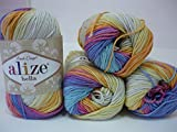 100% Cotton Yarn Alize Bella Batik Thread Crochet Hand Knitting Yarn Craft Art Lot of 4skn 200gr 788yds Color Gradient #4538