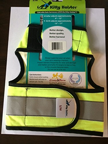 Kitty Holster Reflective Safety Velcro Cat Harness Small/Medium Neon Yellow. Velcro Harness.