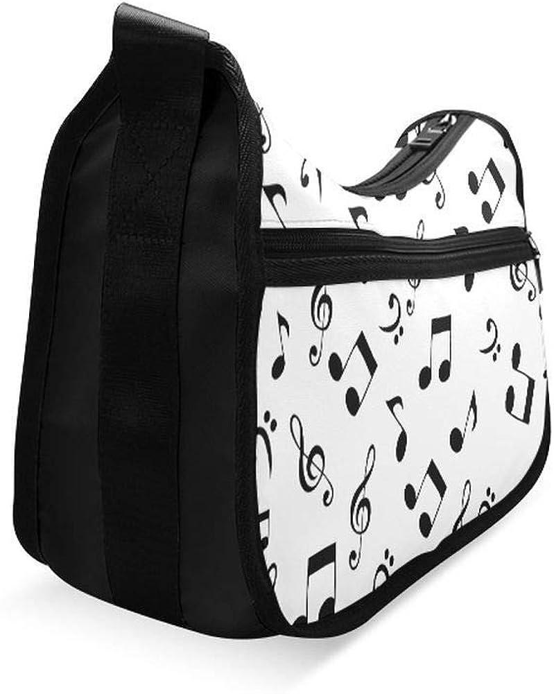 Various Black Melody Symbols Messenger Bag Crossbody Bag Large Durable Shoulder School Or Business Bag Oxford Fabric For Mens Womens
