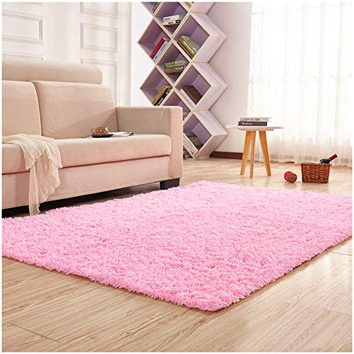 dern Shag Area Rugs Fluffy Living Room Carpet Comfy Bedroom Home Decorate Floor Kids Playing Mat 4 Feet by 5.3 Feet ()