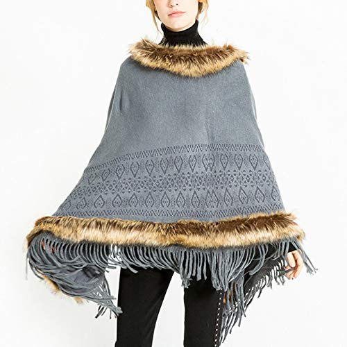 Del Caldo Capo Sciarpa Sintetica Pelliccia Autunno Inverno Scollatura Grey Mantello In Signore Scialle Moda Poncho ZHxApA