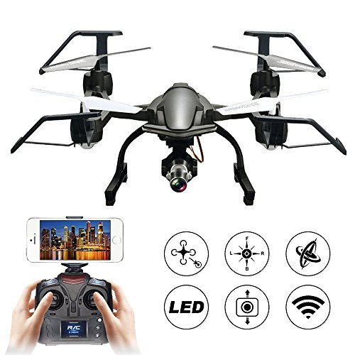 XFUNY Brushless Drone 6-Axis Gyro WIFI UAV Real-Time Transmission 300m Remote Control Quadrocopter with Long Flying Time & HD Camera & LED Light for Aerial Photography (Black)