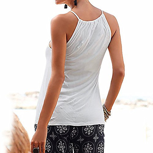 Womens Solid High Neck Vest Top Summer Sleeveless T Shirt Blouse Casual Hollow Tank Tops(White,L) by WYTong Clearance! (Image #1)