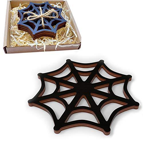 Marolen Black Spider web Wooden Coasters - This