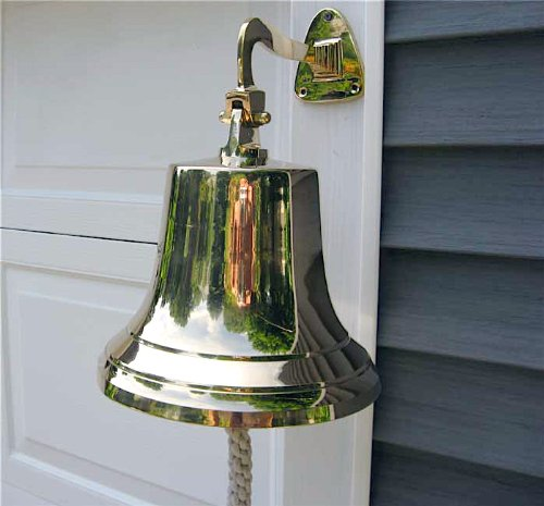Ships Bell - Large - Solid Brass W/mounting Bracket NEW by americana-r-us