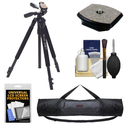 Slik 330 DX Pro Series Black Tripod 3Way Pan/Tilt Head & Quick Release with QR Plate + Tripod Case + Accessory Kit