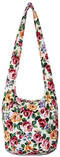 Rose Bohemian Hobo Boho Hippie Hipster Crossbody Bag Purse 35 Inch (CreamPinkRose) (Hobo Style Bag)