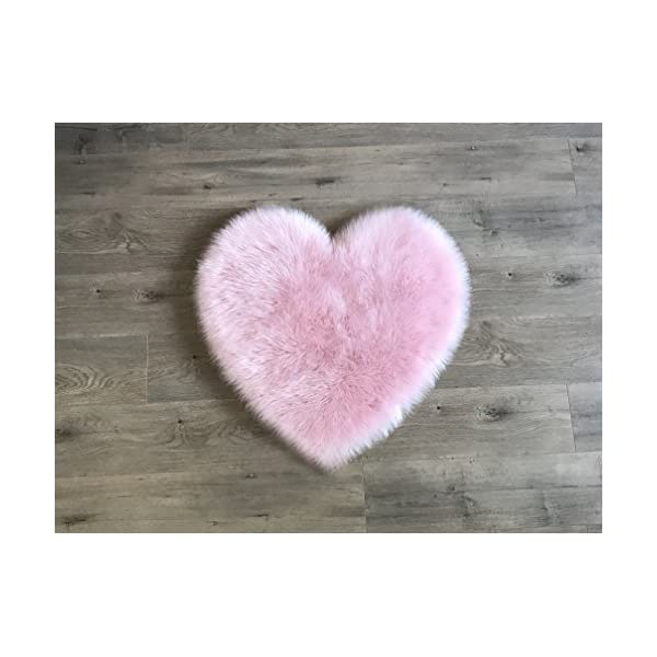 Machine Washable Faux Sheepskin Cotton Candy Pink Heart Rug 28″ x 30″ – Soft and silky – Perfect for baby's room, nursery, playroom – Fake fur area rug (Cotton Candy Pink Heart)