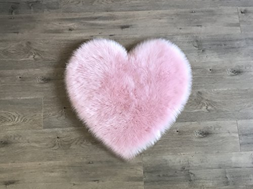 "Machine Washable Faux Sheepskin Cotton Candy Pink Heart Rug 28"" x 30"" - Soft and silky - Perfect for baby"