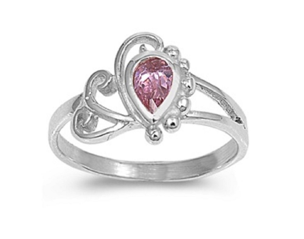 Pear-Shaped Simulated Tourmaline Cubic Zirconia Filigree Petite Ring 925 Sterling Silver Size 5