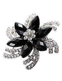 Crystal Sun Flower Brooch Floral Black Rhinestone Brooches Bridal Jewelry