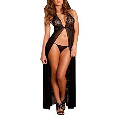 38d6b75753e DongDong Hot Sale! Sexy Lingerie Women Babydoll Underwear Long Dress  Nightwear Briefs at Amazon Women s Clothing store