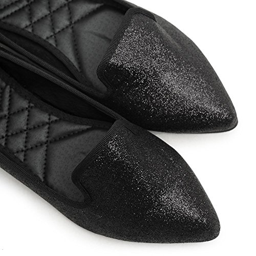 Ollio Damesschoen Ballet Comfort Glitter Multi Kleur Plat Zwart