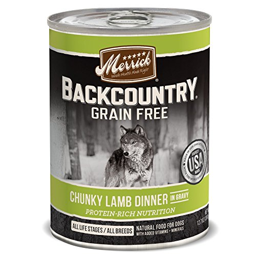 Merrick Backcountry Chunky Lamb in Gravy Grain Free Wet Dog Food, 12.7 oz., Case of 12