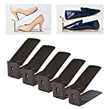 HARRA HOME Shoe Slots 3step Adjustable space saver organizer, Premium Shoes slotz holder, Double shoe rack storage, Set of 5 (Brown)