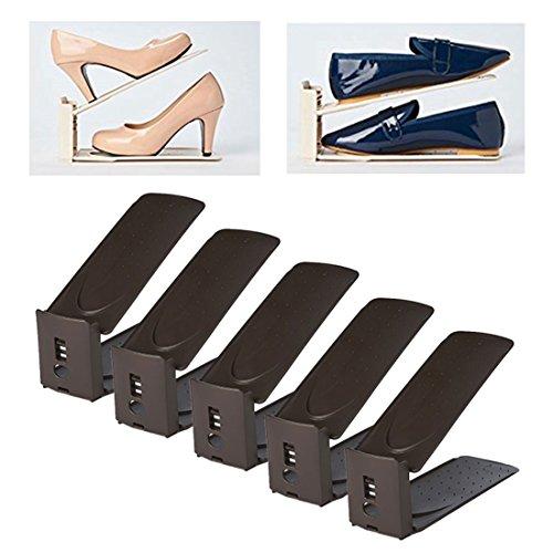 HARRA HOME Shoe Slots 3step Adjustable space saver organizer, Premium Shoes slotz holder, Double shoe rack storage, Set of 5 (Brown) - Double Dresser Set
