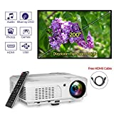 HD LED 3600 Lumens Video Projector Home Theater Gaming System 200 Inch Outdoor 1080P USB HDMI RCA VGA Speakers Zoom Keystone Remote for iPhone YouTube Netflix Xbox DVD Player Cable TV Laptop PC PS4