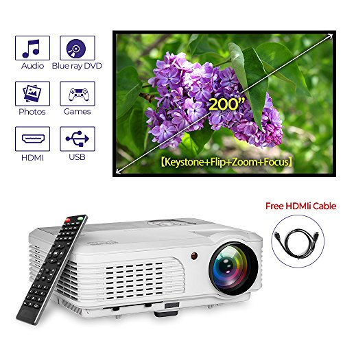 LED LCD 3600 Lumen HD 1080P Support WXGA Video Projector HDMI USB,Digital Widescreen Movie Game Home Theater Projector with Speakers Remote Zoom Keystone Correction for PS4 DVD Phones Mac Laptop
