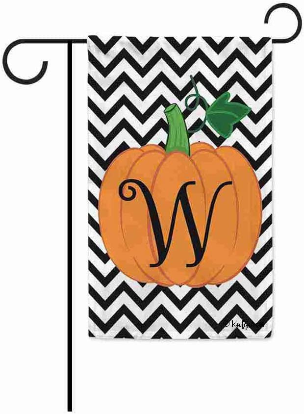 KafePross Welcome Fall Pumpkin Monogram W Decorative Garden Flag Initial Letter Autumn Seasonal Banner for Outdoor 12.5X18 Inch Print Double Sided