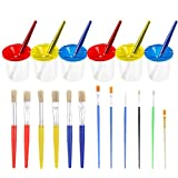 Paxcoo 6 Pcs No Spill Paint Cups with Lids and 12 Pcs Painting Brushes Set