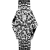 Guess U0001L1 animal print with glitz accents dial animal print polished steel bracelet women watch NEW