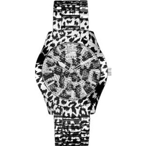 - Guess U0001L1 animal print with glitz accents dial animal print polished steel bracelet women watch NEW