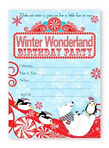 Winter Wonderland LARGE Invitations - Red - 10 Invitations 10 Envelopes - Winter Onederland Invitations ()