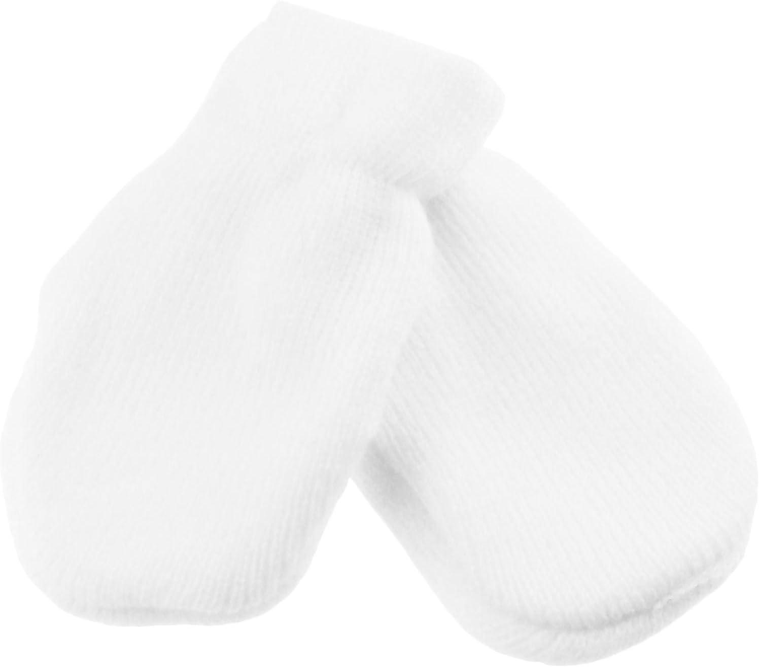 Baby Girls Boys Block Colour Warm Winter Elastic Fine Knit Essential Soft Mitts Mittens Blue