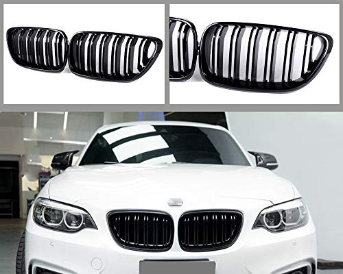 GY 2-Slat Double Line Glossy Black ABS Kidney Bumper Grille Grill for BMW 2 Series F22 F23 F87 2014-2018