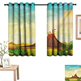 Superlucky Volcano Decorative Curtains for Living Room Prehistoric Mountain Magma View Lava