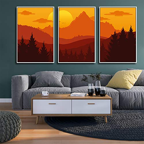 """wall26 3 Piece Framed Canvas Wall Art for Living Room, Bedroom Mountain Landscape Illustration XXI Canvas Prints for Home Decoration Ready to Hang - 16""""x24""""x3 Panels"""
