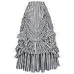 Belle Poque Women's Vintage Stripes Gothic Victorian Skirt Renaissance Style Falda 5