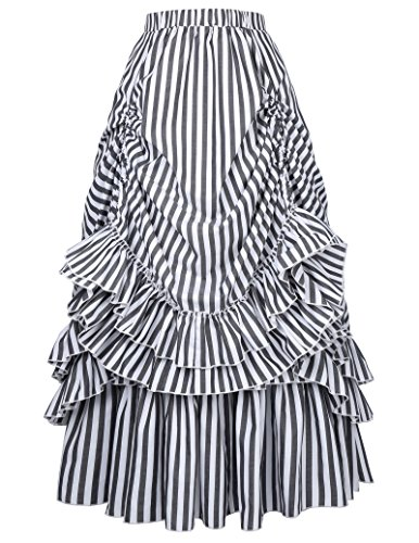 Vintage High Waist Black & White Stripes Gothic Bustle Skirt (L, Black & - Goth Victorian