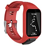 TomTom Watch Band, Fits Both Small And Large Bands, Unpara Replacement Silicone Band Strap For TomTom Spark / 3 Sport GPS Watch, Available Color (Red)