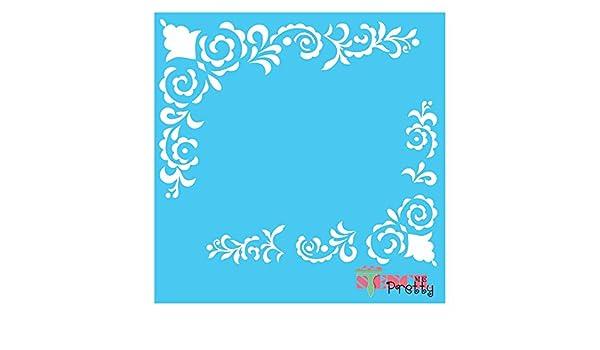10 x 10 Elegant Square Flourishes Stencil Abstract Swirls /& Garnishes-XS | Brilliant Blue Color Material