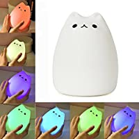 KssFire Portable Cute Kitty LED Children Night Light Silicone LED Multicolor ...