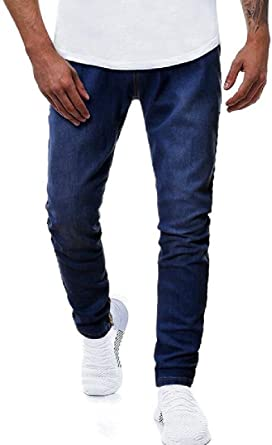 Fubotevic Men Business Casual Regular Fit Elasticity Mid Waisted Denim Jeans Pants
