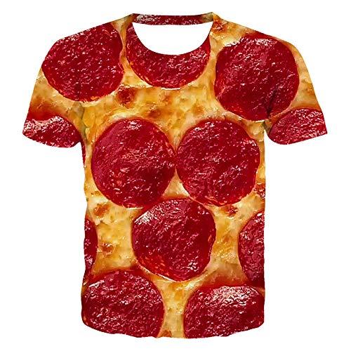 Camiseta Summer New Pizza 3D Impreso Manga Corta Hombres Cuello Redondo Top