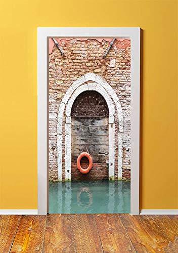 Rustic 3D Door Sticker Wall Decals Mural Wallpaper,Timber Door with Lifebuoy in Venice Italian Mediterranean Culture Tourist Place Print,DIY Art Home Decor Poster Decoration 30.3x78.12664,Red Brown