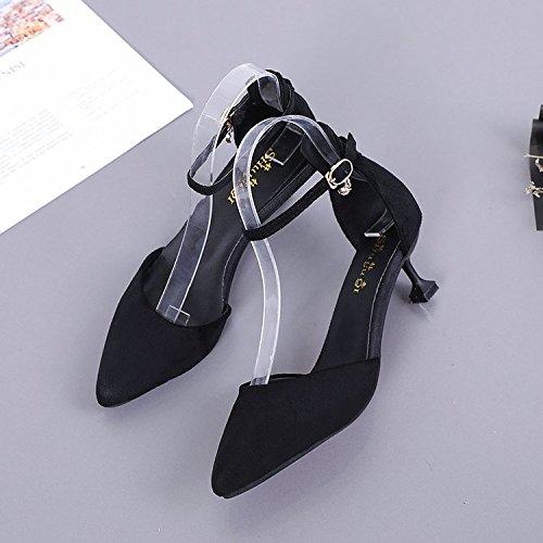 Xue Qiqi Baotou geschlitzten Riegel Sandalen Mädchen mit vielseitige schwarzen feine und vielseitige mit high-heel Schuhe 35 Schwarz 5 cm 9d0a36