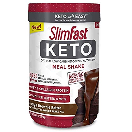 Slimfast Keto Meal Replacement Powder Fudge Brownie Batter Canister (Pack of 24)