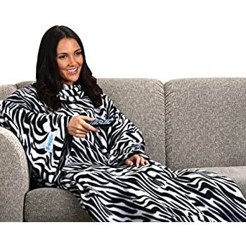 Snuggie Soft Fleece Blanket with Sleeves And Pockets, Zebra
