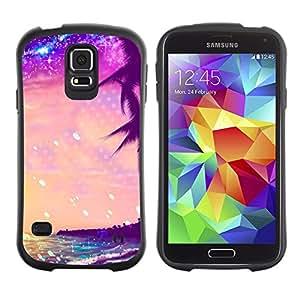 Paccase / Suave TPU GEL Caso Carcasa de Protección Funda para - Glitter Purple Palms Miami Tropics - Samsung Galaxy S5 SM-G900