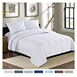 Alternative Comforter - Homelike Moment Lightweight Comforter Set King White Down Alternative Comforter Set 3 Piece - 1 Comforter with 2 Shams All-Season Duvet Insert (King Size, White)