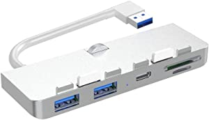 iMac Hub Adapter, Rocketek Aluminum 3-Port USB 3.0 Hub Adapter with USB-C Data Port, 2 USB 3.0 Port, SD/Micro SD Card Reader Combo USB 3.0 Clamp Hub Pro - Compatible with 2017 iMac and iMac Pro