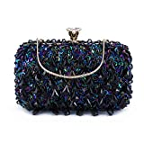 UBORSE Women Clutch Wedding Purse Rhinestone Crystal Beaded Bags Cocktail Party Bridal Prom Handbag for Women (Blue)